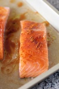 fresh salmon, paprika spice, baking pan