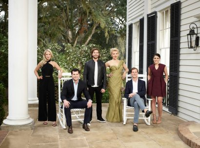 SOUTHERN CHARM SAVANNAH -- Season:1 -- Pictured: (l-r) Catherine Lanier Cooper, Louis Oswald, Daniel Eichholz, Ashley Borders, Lyle Mackenzie, Hannah Pearson -- (Photo by: Virginia Sherwood/Bravo)