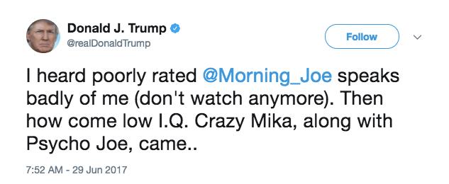 trump tweet morning joe