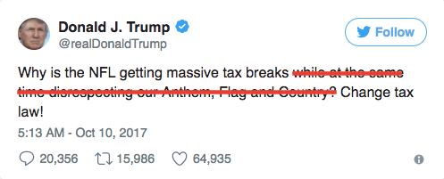 trump tweet nfl tax