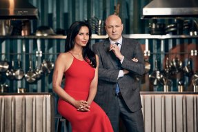 TOP CHEF -- Season:15 -- Pictured: (l-r) Padma Lakshmi, Tom Colicchio -- (Photo by: Tommy Garcia/Bravo)