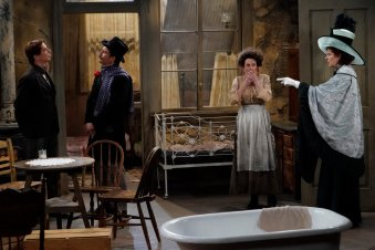 "WILL & GRACE -- ""A Gay Olde Christmas"" Episode 109 -- Pictured: (l-r) Sean Hayes as John Patrick McGee, Eric McCormack as Billem Van Billiams, Megan Mullally as Karolyn O'Sullivan, Debra Messing as Fanny Van Billiams -- (Photo by: Chris Haston/NBC)"