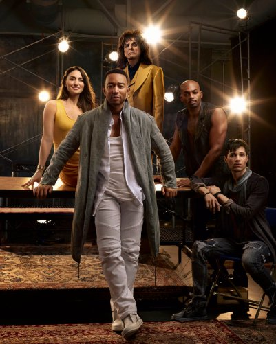 JESUS CHRIST SUPERSTAR LIVE IN CONCERT -- Season: 2018 -- Pictured: (l-r) center: Sara Bareilles as Mary Magdalene, John Legend as Jesus Christ, Alice Cooper as King Herod, Brandon Victor Dixon as Judas Iscariot, Jason Tam as Peter -- (Photo by: James Dimmock/NBC)