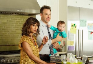 I FEEL BAD -- Pilot -- Pictured: (l-r) Sarayu Blue as Emet, Paul Adelstein as David -- (Photo by: Evans Vestal Ward/NBC)
