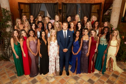 "THE BACHELOR - ""Episode 2301"" - What does a pageant star who calls herself the ""hot-mess express,"" a confident Nigerian beauty with a loud-and-proud personality,; a deceptively bubbly spitfire who is hiding a dark family secret, a California beach blonde who has a secret that ironically may make her the BachelorÕs perfect match, and a lovable phlebotomist all have in common? TheyÕre all on the hunt for love with Colton Underwood when the 23rd edition of ABCÕs hit romance reality series ""The Bachelor"" premieres with a live, three-hour special on MONDAY, JAN. 7 (8:00-11:00 p.m. EST), on The ABC Television Network. (ABC/Craig Sjodin) FRONT: NICOLE. CAITLIN, ANGELIQUE, KATIE, CASSIE, COLTON UNDERWOOD, COURTNEY, KIRPA, ALEX D.TAHZJUAN, DEMI MIDDLE: HANNAH G, REVIAN, JANE, ONYEKA, TRACY, NINA, ELYSE, LAURA, ERIN, TAYSHIA, CAELYNN REAR: BRIANNA, DEVIN, HANNAH B, ANNIE, ERIKA, SYDNEY, HEATHER, ALEX B, CATHERINE"