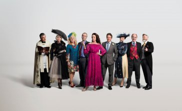 "THE RED NOSE DAY SPECIAL -- ""One Red Nose Day and a Wedding"" -- Pictured: Rowan Atkinson as Father Gerald, Kristin Scott Thomas as Fiona, Sophie Thompson as Lydia, John Hannah as Matthew, Andie MacDowell as Carrie, Hugh Grant as Charles, Anna Chancellor as Henrietta, David Haig as Bernard, James Fleet as Tom -- (Photo by: Greg Williams)"
