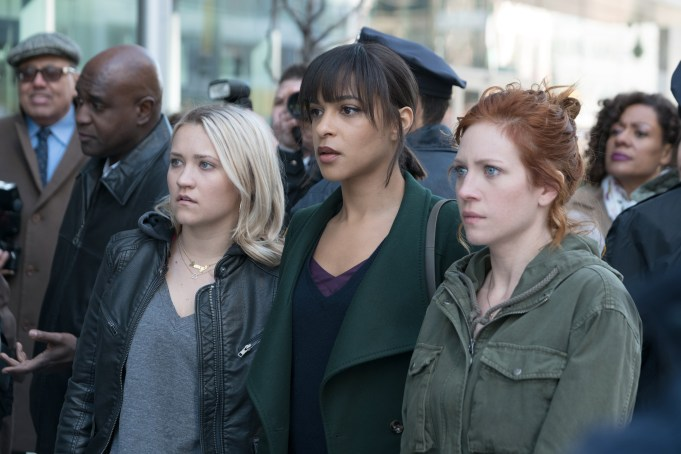 NOT JUST ME: L-R: Emily Osment, Megalyn Echikunwoke and Brittany Snow in NOT JUST ME, premiering this fall on FOX. © 2019 FOX MEDIA LLC. Cr: Linda Kallerus / FOX