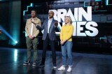 Guests Kristen Bell and Dax Shepard on the set of Brain Games with host Keegan-Michael Key. (National Geographic/Eric McCandless)