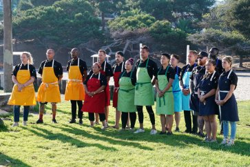 "TOP CHEF -- "" It?s Like They Never Left!"" Episode 1701 -- Pictured: (l-r) Stephanie Cmar, Jamie Lynch, Gregory Gourdet, Lee Anne Wong, Brian Malarkey, Joe Sasto, Karen Acunowicz, Angelo Sosa, Melissa King, Lisa Fernandes, Bryan Voltaggio, Kevin Gillespie, Nini Nguyen, Eric Adjepong, Jennifer Carroll -- (Photo by: Nicole Weingart/Bravo)"