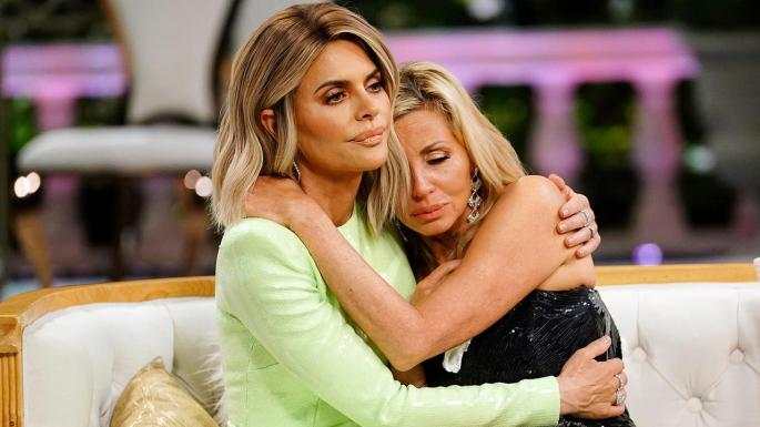 rhobh real housewives of beverly hills reunion rinna camille hugging