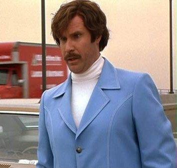ron burgundy blue jacket turtleneck