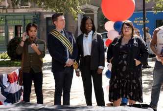"RUTHERFORD FALLS -- ""Pilot"" Episode 101 -- Pictured: (l-r) Jesse Leigh as Bobbie Yang, Ed Helms as Nathan Rutherford, Dana L. Wilson as Mayor Deirdre, Jana Schmieding as Reagan Wells -- (Photo by: Colleen Hayes/Peacock)"