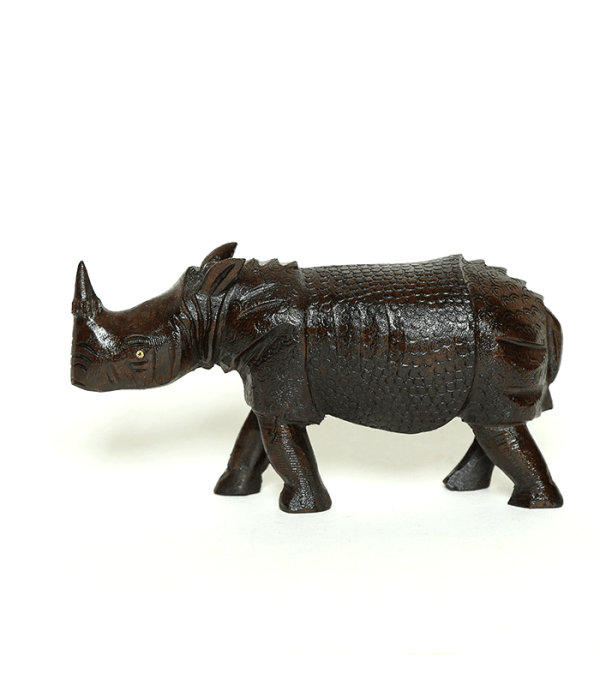 Wooden One Horned Rhino - Natural Pride of Nepal