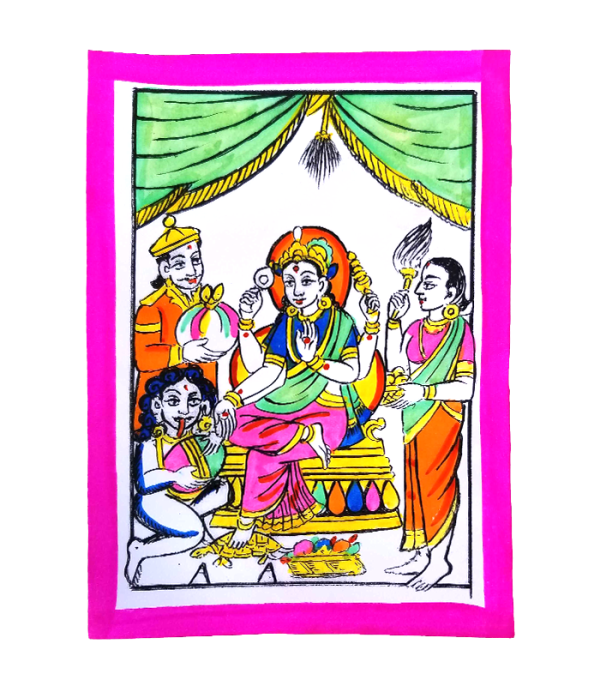 Laxmi Hand Painted Picture - Celebrate Tihar Traditionally