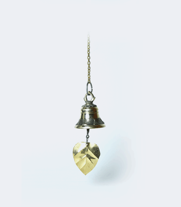 Hawa Ghanti (Wind Bell) with Leaf in Brass - Crafts of Nepal