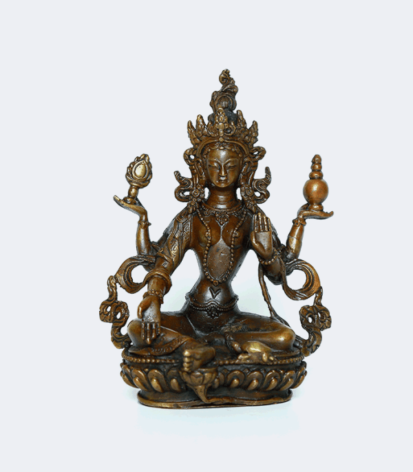 "Laxmi Copper Statue 6"" - Goddess of Wealth"