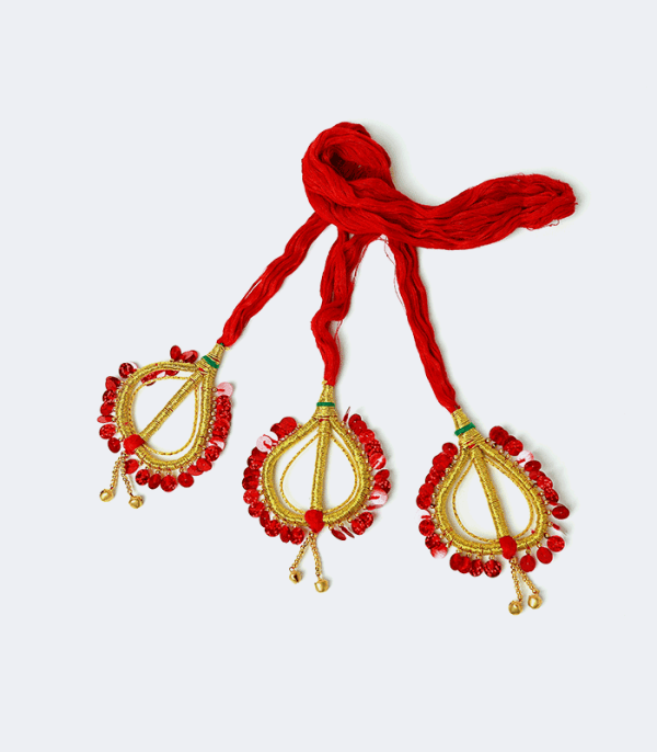Sachika - Cotton Hairdo with heart shaped ends in redrder heart shaped ends