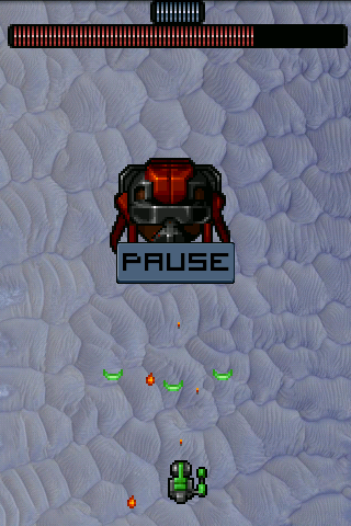 A shiny pause screen and boss health display
