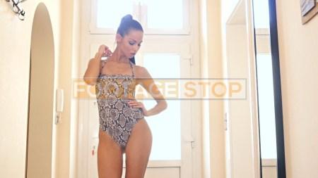 lingerie-girl-ethnic-brunette-stock-video