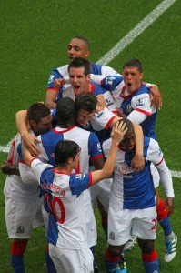 Blackburn Rovers celebrate a goal