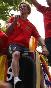 Chelsea striker Fernando Torres celebrating Spain's 2010 World Cup win.