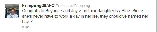Emmanuel Frimpong on Jay-Z and Beyonce's baby