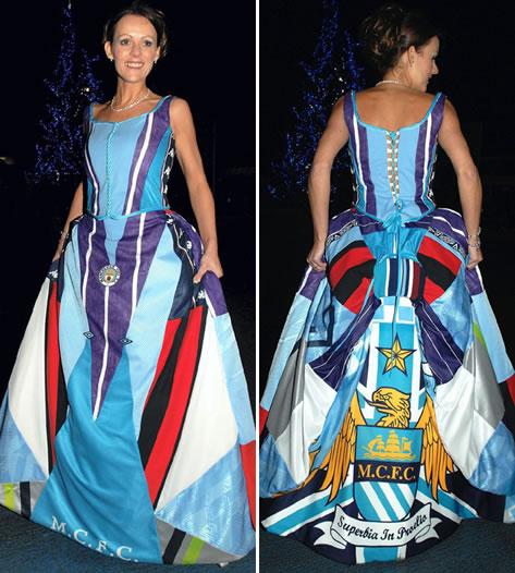Karen Bell wears her homemade Manchester City bridal gown