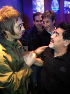 Former Oasis frontman Liam Gallagher meets Diego Maradona