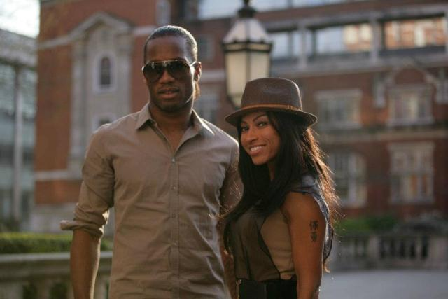 Julia Channel in her music video, with Didier Drogba