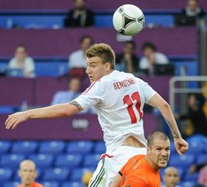 Nicklas Bendtner playing for Denmark against Holland