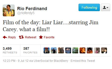 Rio Ferdinand tweets that his favourite film is Liar Liar on day one of John Terry's trial