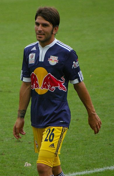Red Bull Salzburg's Jonathan Soriano, who completely missed a penalty against Rapid Vienna