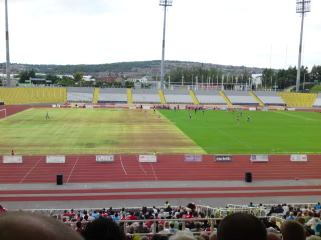 Rotherham United's pitch at the Don Valley Stadium in Sheffield that was left in a poor state after U2 gig