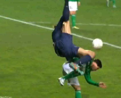 Zlatan Ibrahimovic fails to connect with his overhead kick while playing for PSG