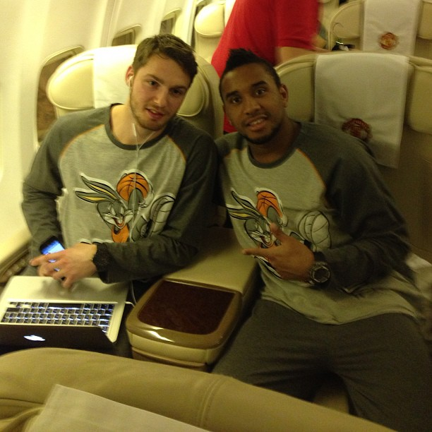Anderson and Nick Powell in pyjamas