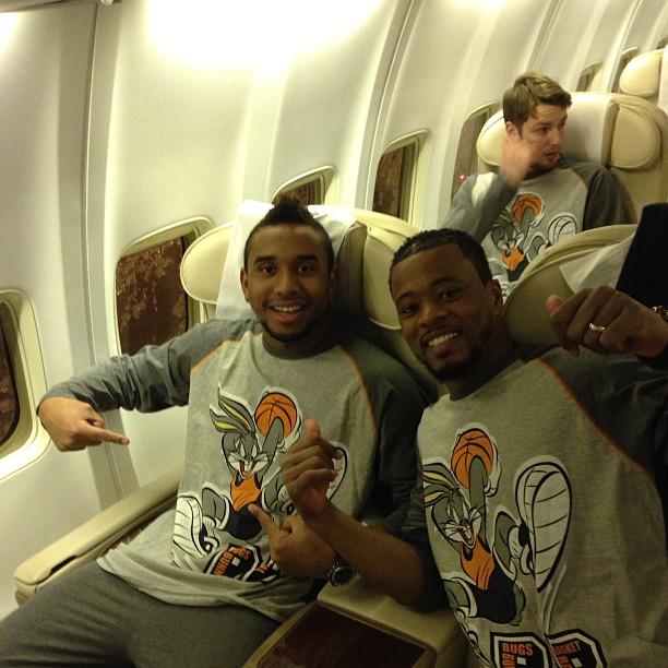 Anderson and Patrice Evra wear Bugs Bunny pyjamas