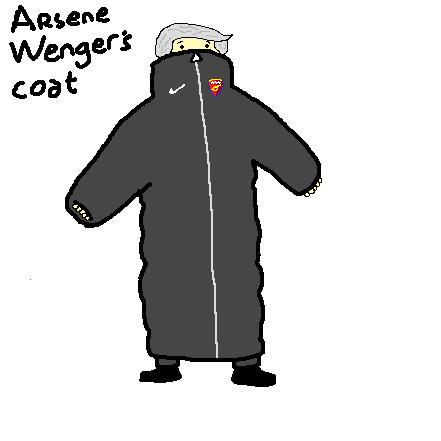 A crude sketch of Arsene Wenger's coat