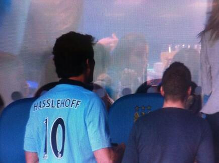David Hasselhoff at Manchester City, wearing a shirt with his name misspelt