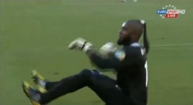 Funny goalkeeper celebration