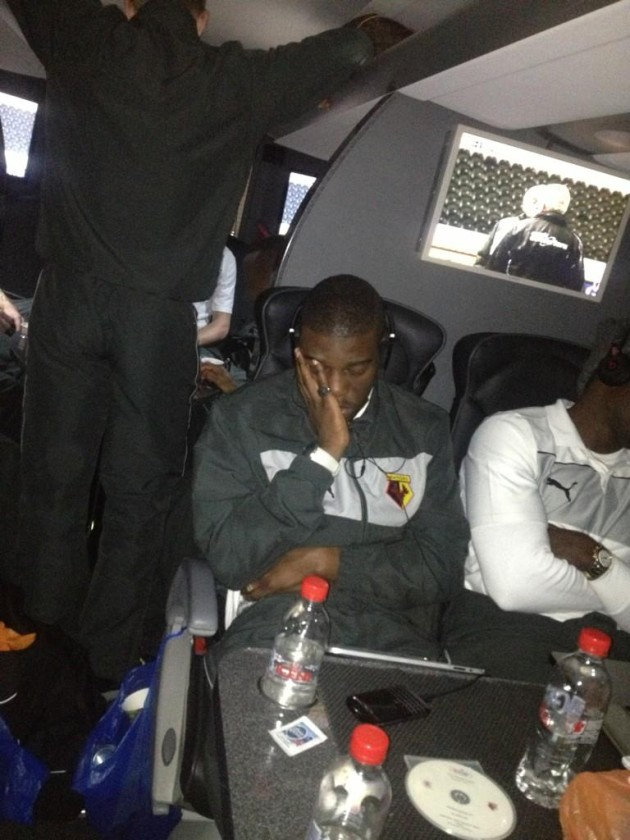 Watford's Nathaniel Chalobah captured by Troy Deeney's #sleepcam