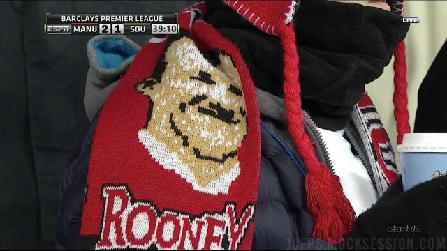 A dodgy Wayne Rooney scarf, spotted during Manchester United v Southampton