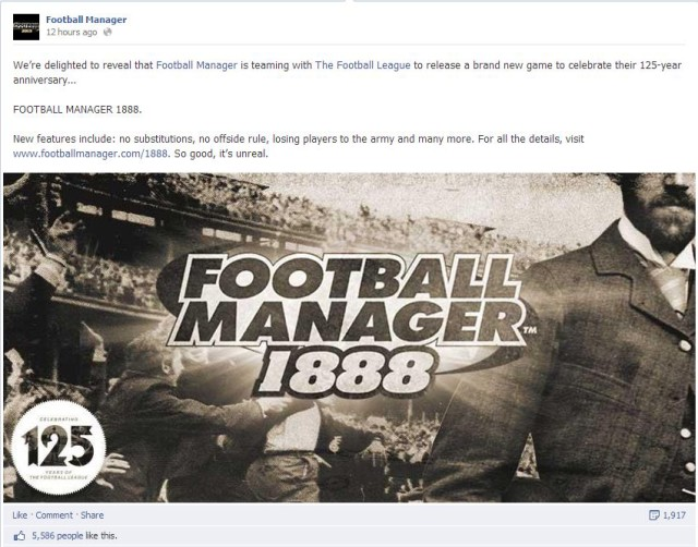 Football Manager 1888, April Fools' Day 2013