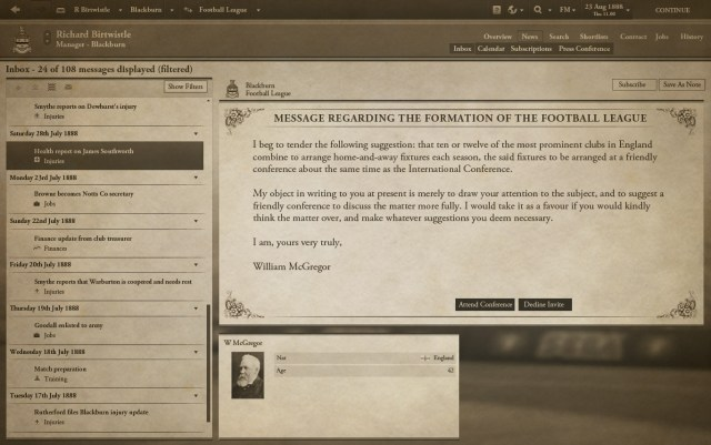Football Manager 1888 screenshot 1, Football Manager April Fools' Day