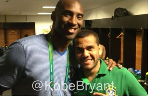 Kobe Bryant meets Dani Alves at Brazil v Italy in the Group Stage of the Confederations Cup 2013