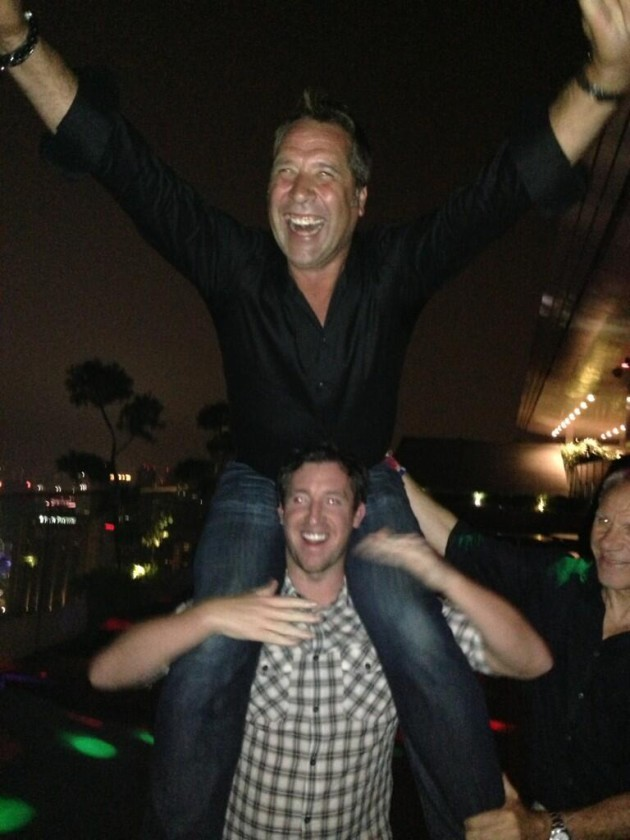 Robbie Fowler gives David Seaman a piggyback in Singapore while on holiday with Peter Reid