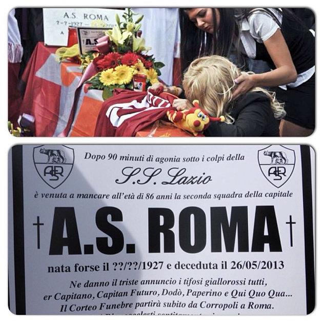 Lazio fans stage Roma's funeral after Coppa Italia win - mourners and funeral notice shown