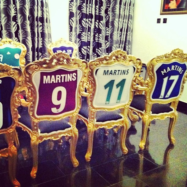 Obafemi Martins's football shirt chairs
