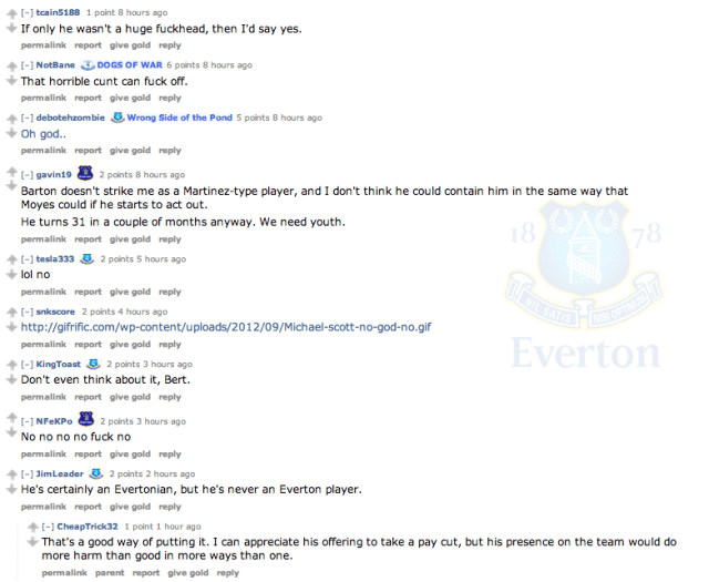Possible Joey Barton to Everton move provokes fans on Reddit