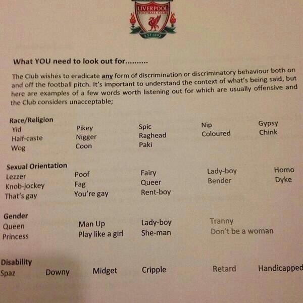 The Liverpool list of unacceptable words and phrases