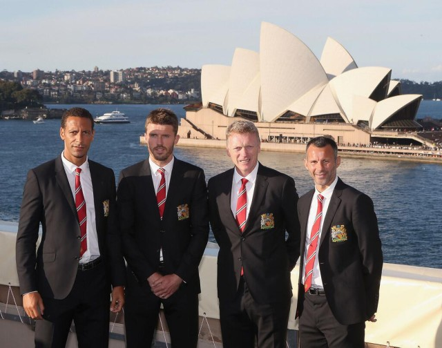"Manchester United on tour in Australia, taken either before or after Rio Ferdinand and Michael Carrick say ""Hello Sydney"""